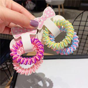 una confezione di 2 pz Giappone Corea carino Donne Gomma Telefono Cord capelli Elementi di fissaggio Arcobaleno ragazze Bands Scrunchie Set fascia dei capelli