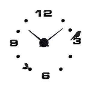 Self Adhesive Wall Clocks Large Wall Clock Digital 3D Large Size Clock Modern Style As Birthday Gift Black