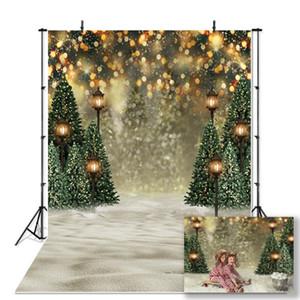 Photography backdrop Christmas tree vintage light winter bokeh glitter background for photo studio shining snowflake background