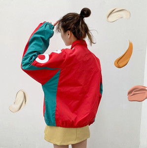 New Women's Windbreaker 20FW Autumn Loose Casual Jacket Fashion Color Matching Stand-up Collar Cardigan Trend Letter Baseball Uniform Top