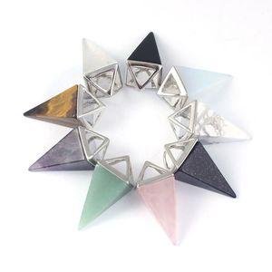 Natural Gem Stone Necklaces & Pendants Tiger Eye Rose Pink Quartz Pendulum Crystal Chakra Pyramid Reiki Healing Jewellery Gift