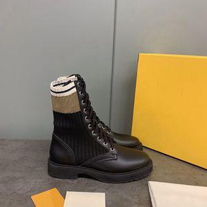 Designer Shoes Rockoko combattimento stivali di pelle della caviglia delle donne Martin biker boots Stivali Stretch in tessuto Inserti in Australia bottini Women Shoes EU41