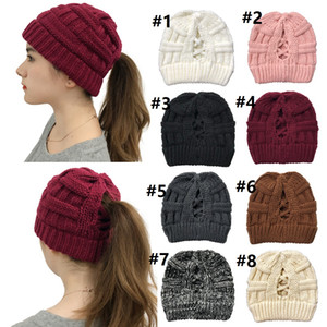 Criss-cross Ribbed Beanie Hat 2020 New Arrival Warm Back Cross Winter Cap Wool Knit Fashion Outdoor Sports ponytail Hats