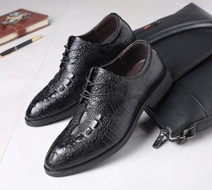 crocodile grain Genuine leather Men business dress shoes oxfords British Formal leather shoes Sapato Social Masculino
