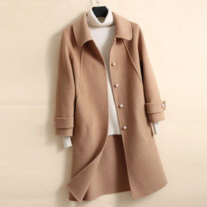 High Quality Double sided Wool Coat Women Medium Long Doll Collar Wool Jacket Cashmere Autumn Winter Elegant Office Lady Outwear