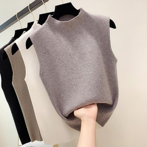 Summer outside knitted vest womens autumn bottoming slim top solid color simple sleeveless ice silk half high collar T shirt