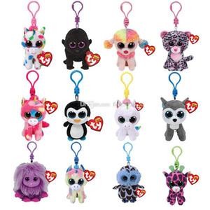 """Ty Beanie Boos Big Eyes Plüsch-Schlüsselanhänger Spielzeug-Puppe Baby-Fisch-Schildkröten-Giraffe Schlüsselanhänger Plüsch-Puppe Tierspielzeug-Kind-Geschenk 4"""" 10cm"""