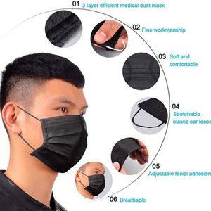 DHL Free Shipping Black Disposable Face Masks 3-Layer Protection Mask with Earloop Mouth Face Sanitary Outdoor Masks 800