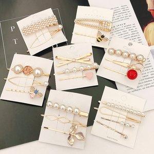 Clip di 3Pcs / Set Donne Barrette Metallo Oro Perla dei capelli per le donne 2020 Hair Fashion coreano pin Jewelry Hairband Accessori