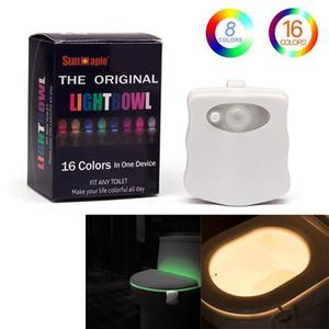 المرحاض ضوء الليل مضادة للماء الخلفية للمرحاض وعاء الذكية البير استشعار الحركة WC ضوء 8 ألوان 16 ألوان للمراحيض