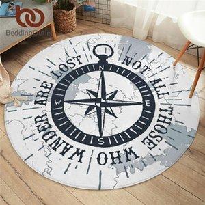 BeddingOutlet CompassRound Carpet Nautical Map Floor Mat White Area Rugs Non-slip Boys Cool Play Mat 150cm