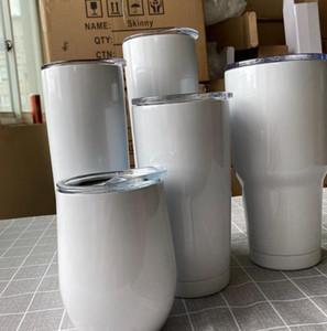 Clásico de acero inoxidable vaso de agua por sublimación térmica Vaso Copa con tapa de la taza del viaje de regalos 12 oz 20 oz 30 oz flaco Vasos LJJK2481 taza