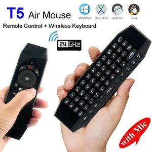 T5 2'nin .4g Kablosuz Hava Fare ile Mic Uzaktan Kumanda Klavye Usb Wireless Alıcı ile Ir Öğrenme Oyun Pad İçin Android Tv Box H96 X92 T3