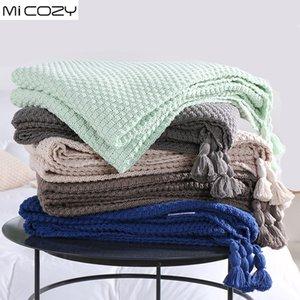 Hacer punto algodón de la decoración moderna de la siesta Manta Concis Sofá la manta del tiro con borlas, el cristal del color azul verde menta
