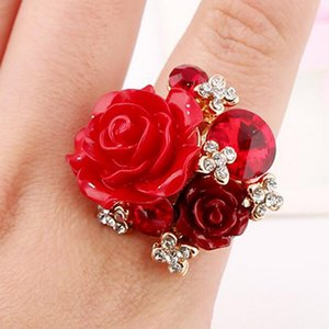 Rainbery Hot Sale Fashion Gold-color Muti-color Flower Rings For Woman Girls Presents Party Wedding Occation Romantic Design