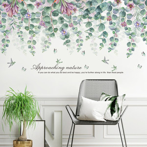 55*112cm Green Leaves Wall Stickers for Living room Bedroom TV Sofa Background Wall Decals DIY Eco-friendly Art Murals Removable