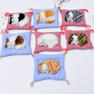 Sleeping Cat With Cloth Mat Plush Toys Simulation Animal Puppy Touch With Sound Funny Home Car Decor Soft Fur Doll