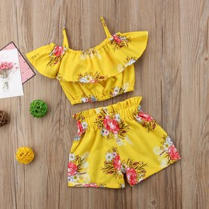 Малыш Детские Девочка Одежда Желтый Цветочные Ruffled ремень Топы Vest Шорты Bottoms Летние Наряды Пляжная одежда Set