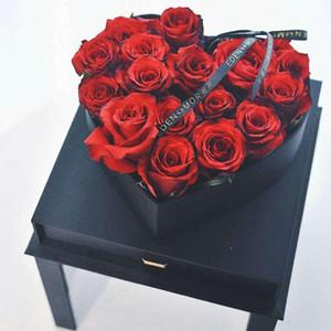 boîte à fleurs Rose acrylique cube transparent carré fenêtre tiroir Boîte amour cadeau fête de mariage floral d'emballage en forme de coeur