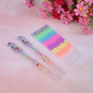Multi cor do arco-Highlighters caneta gel recargas para estudantes DIY Pintura Abastecimento Graffiti fluorescente Refill School 2 / 10pcs / lot