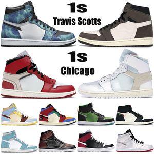 Top blanc x 1 1s hommes Jumpman chaussures de basket-ball de Chicago Travis Scotts Tie Dye zoom hommes vert noir formatrices chaussures de sport