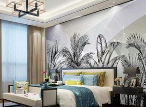 Custom Photo Wallpaper Abstract geometric tropical rainforest banana leaf Wall Mural Living room bedroom Backdrop 3d wallpaper