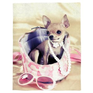 Animal Dog Pet Cute Fashion Sunglasses Spring and Autumn Soft Flannel Blanket Office Siesta Blanket Sofa Bed