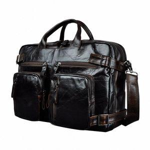 Genuine Leather Man Design Multifunction Purpose Maletas Maletin Business Briefcase 15 Laptop Bag Tote Portfolio Bag K1013 Metal Brief N6y9#