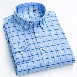 Men's Fashion Brushed Cotton Checkered Plaid Shirt Single Patch Pocket Standard-fit Full Sleeve Comfortable Thick Casual Shirts 200925