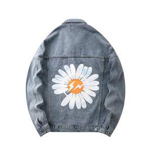 2020 Mens Chrysanthemum Print Denim Jacket Fashion New Wild Cool High Quality Tide Mens Casual Long-sleeved Distressed Denim Jacket