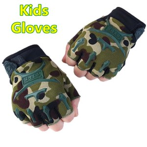 Kids Tactical Fingerless Gloves for 8-14 years old Armed Anti-Skid Sports Outdoor Half Finger Boys Girls Guantes Luva