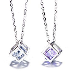 INS Mode Bijoux Amour Pendentif Cube Rubik Cube Magique Pendentif La Place Amour Fenêtre Collier Bijoux coréenne pour les femmes cadeau