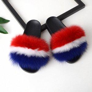 Bravalucia Frauen Furry Slides Damen nette Plüsch-Pelz-Haar Fluffy Slipper Frauen Fur Slippers Winter warm Sandalen für Frauen t3aZ #