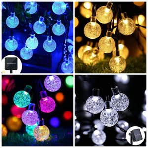 LED String Lights Solar Powered Waterproof Crystal Ball Christmas String Outdoor Lighting Courtyard Decorations Lights 30 Bulbs 6.5m BWB1992