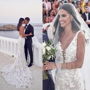 Sexy Backless Mermaid Boho Beach Wedding Dresses 2020 V-neck 3D Lace Appliques Strap Trumpet Steven Khalil Garden Bridal Dress Wedding Gowns