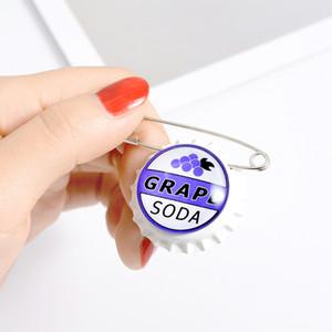 Personalidade Grape Soda Bottle Cap liga broche Branco e Sliver-banhado emblema Denim Shirt lapela jóias Acessórios presente