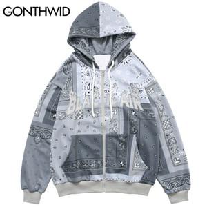 GONTHWID bordado remiendo del pañuelo Full Zip sudaderas con capucha chaquetas 2020 Harajuku informal Hip Hop sudaderas Tops abrigos para hombre T200914