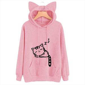 2020 Spring Cat Ear Cap Hoodies Women Cat Printed Hooded Sweatshirts Pink Top Cute Long Sleeve Loose Pullover Girls Mujer