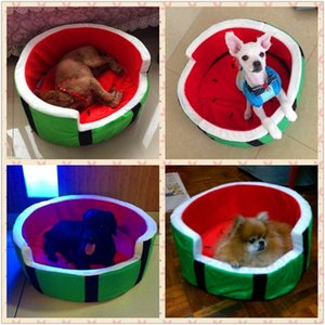 Evcil hayvan bakım ürünleri sevimli köpek kulübesi ev sıcak pamuk karpuz şekli köpek yatağı kanepe evcil kedi yatağı köpek meyve yatak