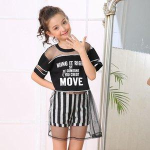 Девушки платья Детская одежда Девушки Летние Детские Повседневные Сетчатые Платье Носить рубашку + Шорты Рейш Наряд
