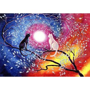 DIY Frameless 16x20'' Paint by Numbers for Adults- Black and White Cat on the Tree Oil Canvas Painting