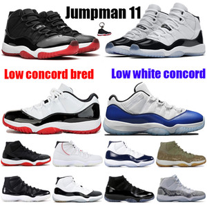 New Low White Bred 11 11s Men Women Jumpman Basketball Shoes legend blue Concord 45 White Metallic Silver Platinum Tint sneakers trainer