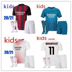 Kids Kit 2020 2021 AC Milan Fussball Jersey 2020/21 Ibrahimovic Paqueta Bennacer Rebic Kids Kit Maglia da Calcio Calhanoglu Football Shirt