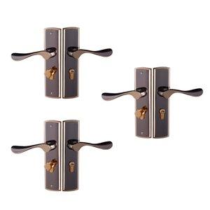 3pcs liga de alumínio Porta Handle Lock Home Entry Segurança Porta Lockset de Quarto Casa de Banho Trava 3 Chaves