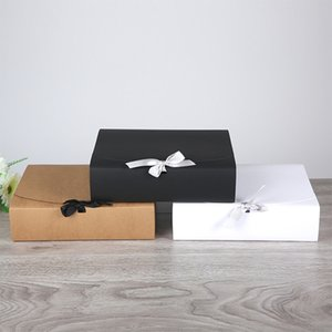 15pcs Big Paper Box With Ribbon White Black Kraft Paper Gift Box Blank Cardboard Packaging For Scarf Jewelry Craft
