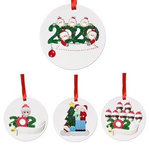 2020 Quarantine Christmas Party Decoration Gift Santa Claus With Mask Personalized Hanging Ornament Pandemic -social Distancing