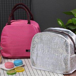 새로운 점심 가방 여성 스트라이프 대형 냉장 가방 휴대용 열 아침 식사 상자 Canvas 피크닉 런치