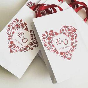 Regalo personalizado bolsa de papel con cinta de raso de bienvenida boda bolsas de papel y el texto para su bolsa de invitados a la fiesta de cumpleaños