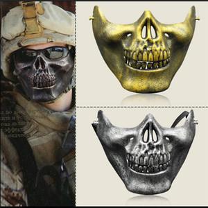 Máscara del guerrero del cráneo táctica caza fiesta de Halloween traje de mascarada Media máscara Máscara de Cosplay del juego al aire libre Prop protección militar