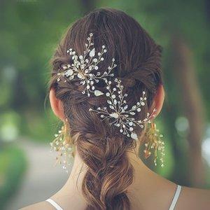 SLBRIDAL Handamde Strass Opale Cristal Perles Fleur Bijoux de mariage peigne à cheveux de mariée épingle à cheveux boucles d'oreilles Bijoux Femmes